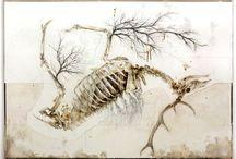 The last breath before sprouting / Nunzio Paci Title: The last breath before sprouting Dim: cm 150x200 Tecnique: pencil, oil, enamel, resins, bitumen on canvas