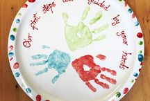 Baby footprints and toddler handprints