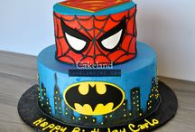 Boy Cakes / Elaborate fondant covered stacked cakes