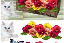 3D Blomster med dyr