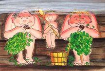 Sauna piirettyjä / bath cartoons