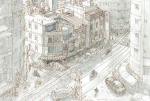 Zhong Li, Taiwan. Urban sketch. Plein air