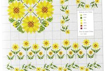 cross stitch flowers, trees, plant
