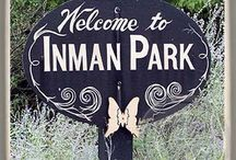 Inman Park, Atlanta, Marble Stone Coasters / Inman Park, Atlanta, Marble Stone Coasters. Inman Park Welcome Sign,  	Inman Park Historic Sign, Atlanta Marble Stone Coaster.  	Barcelona Wine Bar,   Dad's Garage   	Euclid Waverly  	Fritti   P'cheen,  	Sotto Sotto Inman Park, Atlanta Marble Stone Coaster.  	Trolley Barn Inman Park, Atlanta Marble Stone Coaster.