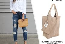 Taupe Italian Suede Shopper Bag