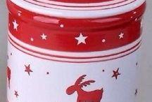 Keksdose, Gebäckdose, Weihnachts-Motive, Elche, Sterne, rot-weiß, Keramik, Neu