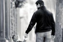 Man with child walking