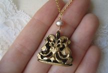 Antique watch chain fob locket necklace