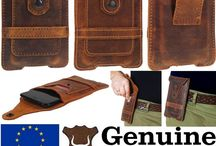 Bull's Head Genuine Leather Belt Pouch / Mobile phones case - pouch - handmade from genuine leather - cowhide - with card pocket and belt loop.