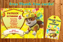 Paw Patrol Theme invitations and other party supplies / Examples of Paw Patrol birthday invitation, Paw Patrol invite, Paw Patrol party supplies, Rubble, Ryder, Skye, Chase invitations, Paw Patrol thank you cards and tags, Paw Patrol banner - Paw Patrol party staff for boys and girls.
