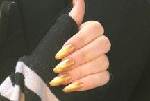 Gold acrylic long nails