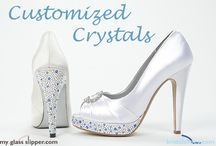 Customized Wedding Shoes / The days of boring bridal shoes are over! Now you can take a plain shoe and make it something special with My Glass Slipper's exclusive decorations, crystal designs, and expert shoe dyeing.   MyGlassSlipper.com and BridalShoes.com have more than 60 shoe decorations and more than 30 dye colors to design your own perfect wedding shoes.   Start creating your own perfect wedding shoes today at MyGlassSlipper.com and BridalShoes.com!