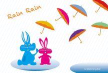 梅雨 アジサイ かたつむり 雨 蛍のイラスト