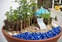Minigarten in der Blumenschale