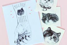 Tattoo chat chien Hello Harriet