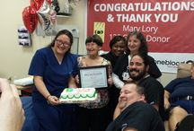 Blood Donor Superheroes / Blood and platelet donors who have reached major milestones in giving.