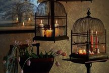 Bird cage with string of lights