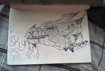 Skyrim dragon drawing with pen / Like this please and pin it