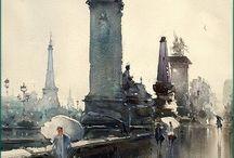 monuments aquarelle