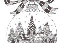 Zentangle kerstbal +huisjes