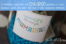 celebrating life through memories printables - Lauren McKinsey / since i started my company i wanted to create a line of printables that would help children deal with their grief. from documenting their memories to helping them cope with their emotions, this collection is designed from my heart and our experiences. maybe it is the loss of a parent, grandparent, sibling or friend that your child has experienced. it is my hope that through our loss i can help others through theirs. / by Lauren McKinsey