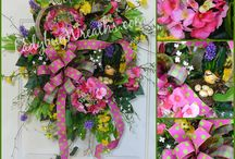 Springtime Wreaths / Bright and beautiful colors which pop out in springtime after a long winter are my favorite!  These wreaths are full of color and blossoms of all types.  Ribbons are plentiful as as the critters, birds, nests, grasshoppers and so much more! / by Ladybug Wreaths, Nancy Alexander