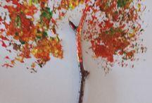 Knutselen herfst / Boom van alluminum folie