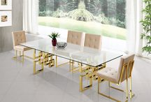 Contemporary Pierre Dining Room Set - Meridian Furniture / Meridian Furniture - Pierre Dining Set  The Pierre Dining Table by Meridian Furniture. Featuring a beautiful contemporary design with gold plated stainless steel base and Genuine glass top. This dining table is guaranteed to be the highlight of any home.  Rich Gold Stainless Steel Glass Top Plush Velvet Chairs Deep Tufting on Chairs