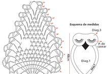 フクロウ編み図