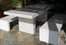 Cast Cement Tables & Benches / Concrete Tables & Benches for Interior & Exterior Use.