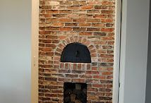 Clinker brick fireplace