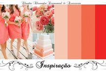 Casamento | Decoração em Coral/Pêssego/Salmão / Inspiração para decoração de casamentos. Decorações Coral, Pêssego e Salmão. Wedding Decor. Coral, Peach and Salmon palette