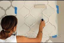 Stencil para paredes / Como pintar con plantillas decorativas, (en ingles stencil)