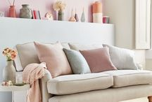 Neutral/Soft Pastel Snug / a welcoming and calm space that will serve as our only real living space for the first year in our home.
