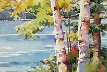 Akvarell fák