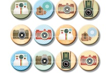 Digital Collage Sheets Ink Five 1 inch circles / Digital images for crafters