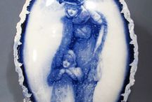 blue woman in snow framed