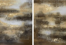 materic painting - brown color tone / Abstract an materic paintings. Stucco and acrylic colors.