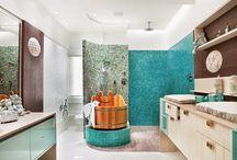Banheiros Infantis | Kids Bathrooms / Veja muito mais fotos, dicas e informações técnicas de cada BANHEIRO DE BEBÊ no blog Decor Salteado! É só clicar nas imagens! ; - )