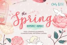 The Spring Romance Bundle / Our latest bundle is packed with all things lovely & beautiful, includes over 1700+ handcrafted graphics elements, compositions, romantic wreaths, frames, patterns & more!! Grab this HUGE collection now for ONLY $23, that's a massive savings of 93% off the regular price!!