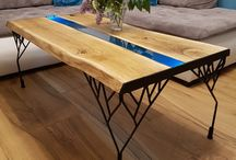 Turquoise river table / #table #oak #epoxy #turquoise #interior #project #handmade #wood #light #resina #home #decoration #coffetable #homemade #furniture #forsale #liveedge  Want to buy it - contact us :)