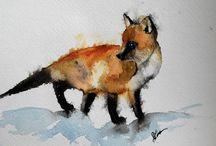 Akvarell dyr