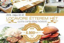 Locavore Restaurant Week / LOCAVORE ÉTTEREM HÉT * vendégeink a helyszínen választhatnak az új a'la carte étlap kínálatából * 3 választható fogás egyedi áron 4.900 HUF / fő * A kedvezményes 3 fogásos menü, egyedi áron csak vacsora időszakban 18:00-22:00 között foglalható. ASZTALFOGLALÁS:  Locavore Restaurant   1016 Budapest, Naphegy utca 67. +36 1 799 04 01   info@locavore.hu   www.locavore.hu