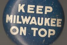 Buttons / Milwaukee and other tin-type advertising buttons and pins