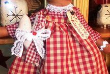 Muñeca trapo escocesa rojo y blanco