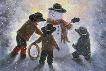 Cowboy Snowman