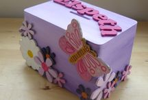wooden money box with letters & wooden daisies