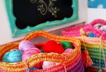 crochet bags, baskets, wallets