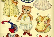Papírové vystřihovánky / krabičky, panenky