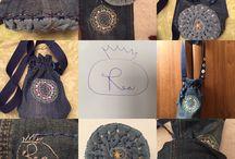 The Jeans bag / Ručne šité, vyšívané mešce, vlastná tvorba, handmade